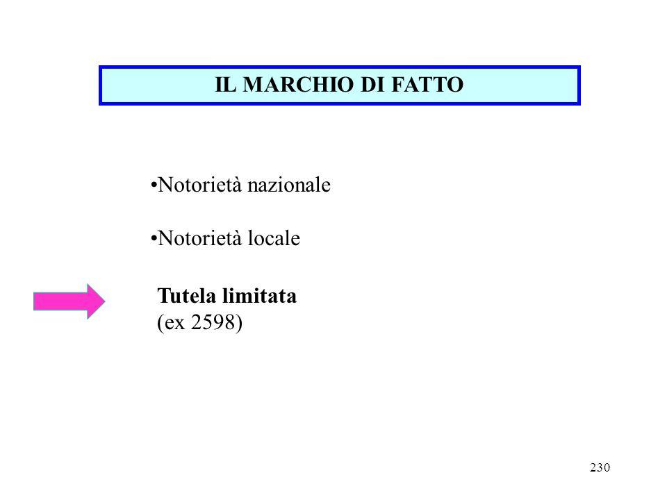 230 IL MARCHIO DI FATTO Notorietà nazionale Notorietà locale Tutela limitata (ex 2598)