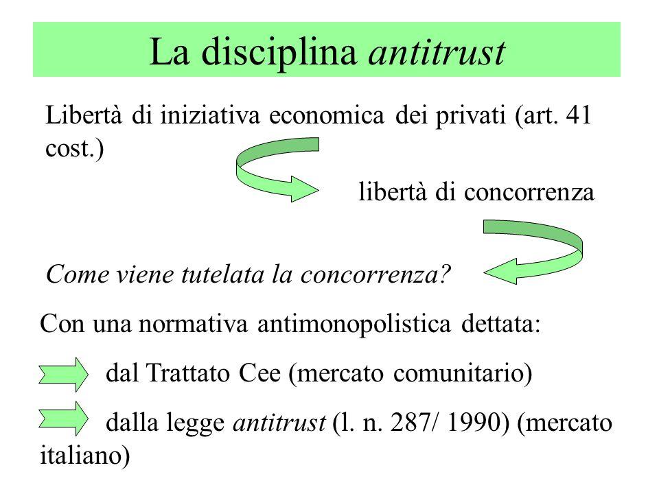 La disciplina antitrust Libertà di iniziativa economica dei privati (art. 41 cost.) libertà di concorrenza Come viene tutelata la concorrenza? Con una