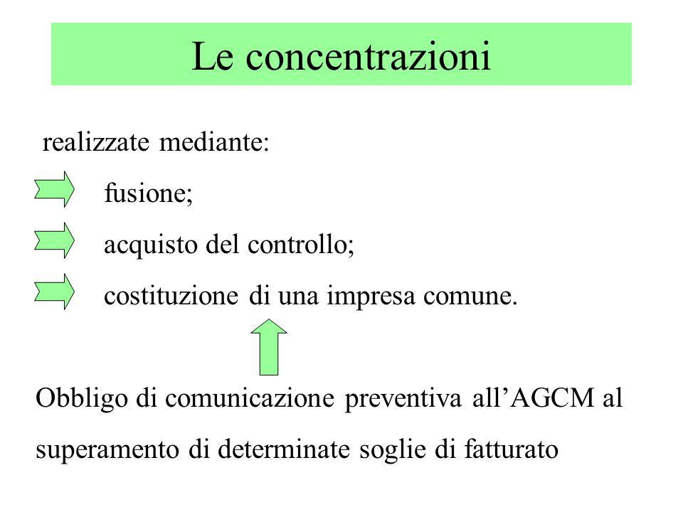 Le concentrazioni realizzate mediante: fusione; acquisto del controllo; costituzione di una impresa comune. Obbligo di comunicazione preventiva allAGC