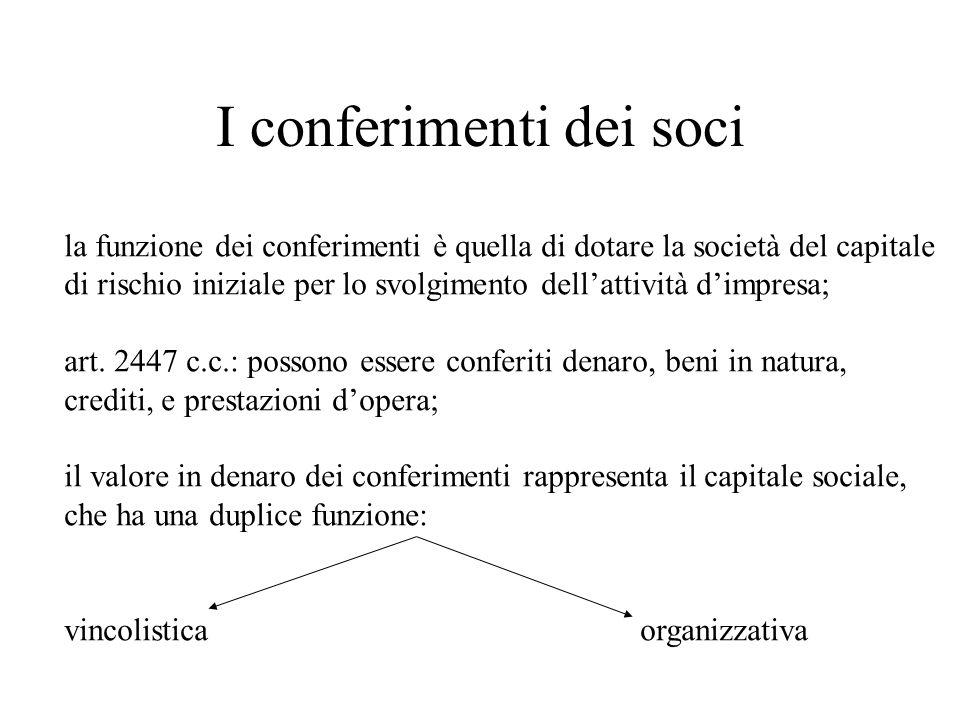 I conferimenti dei soci la funzione dei conferimenti è quella di dotare la società del capitale di rischio iniziale per lo svolgimento dellattività di