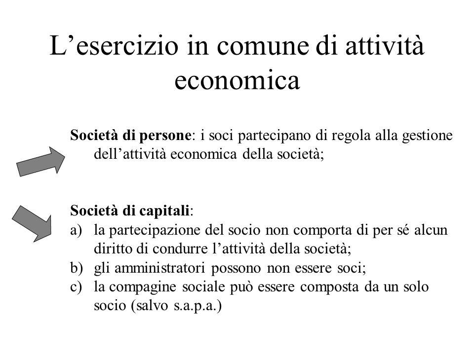 Lesercizio in comune di attività economica Società di persone: i soci partecipano di regola alla gestione dellattività economica della società; Societ