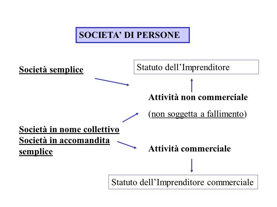 SOCIETA DI PERSONE Società semplice Società in nome collettivo Società in accomandita semplice Statuto dellImprenditore Attività non commerciale (non