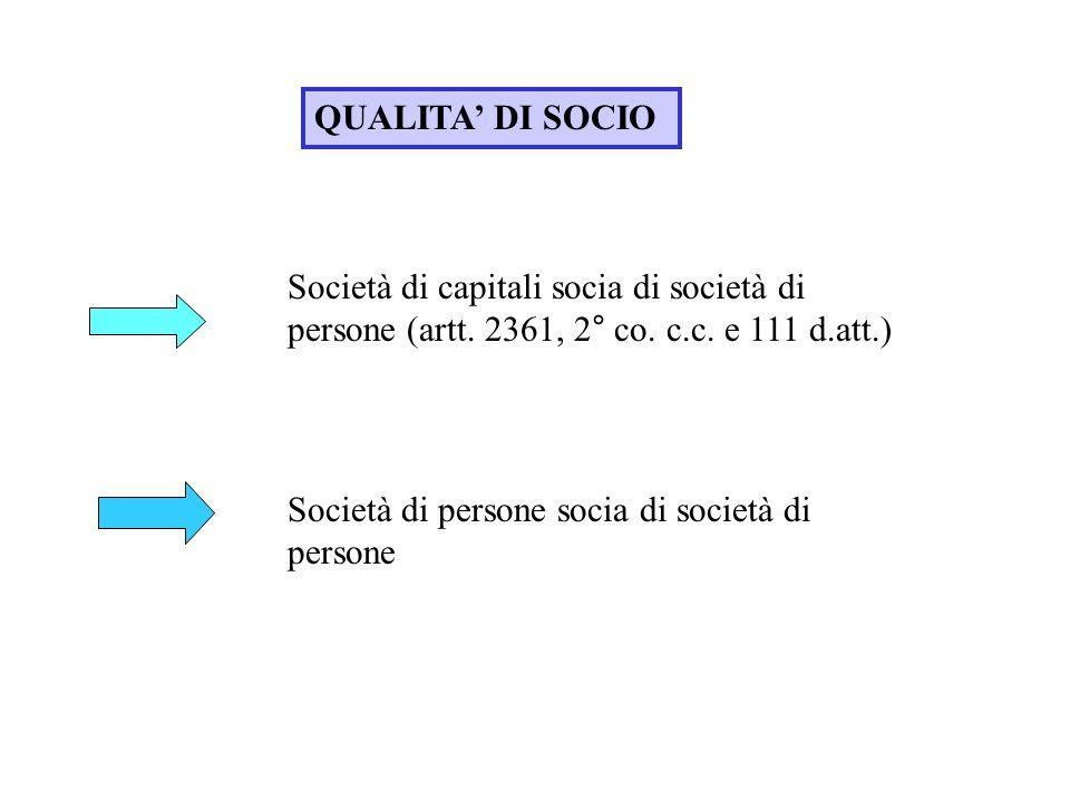 QUALITA DI SOCIO Società di capitali socia di società di persone (artt. 2361, 2° co. c.c. e 111 d.att.) Società di persone socia di società di persone