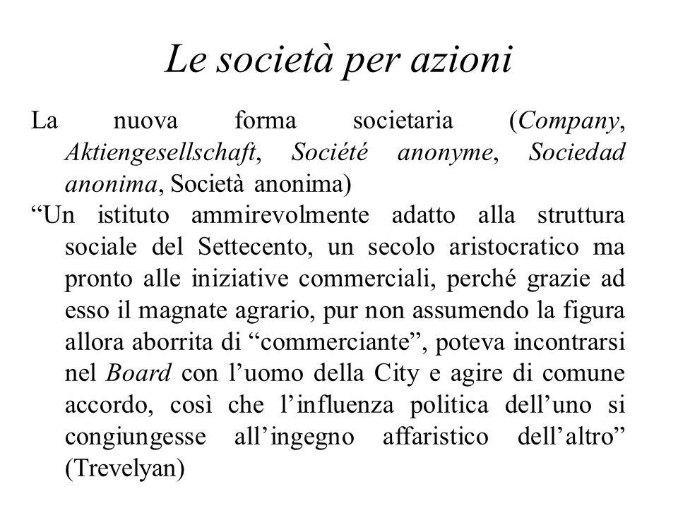 Le società per azioni La nuova forma societaria (Company, Aktiengesellschaft, Société anonyme, Sociedad anonima, Società anonima) Un istituto ammirevo