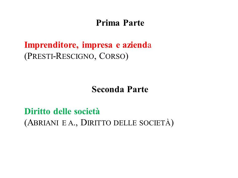 Prima Parte Imprenditore, impresa e azienda (P RESTI -R ESCIGNO, C ORSO ) Seconda Parte Diritto delle società (A BRIANI E A., D IRITTO DELLE SOCIETÀ )