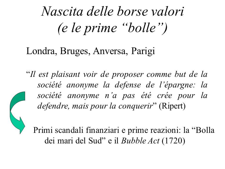 Nascita delle borse valori (e le prime bolle) Londra, Bruges, Anversa, Parigi Il est plaisant voir de proposer comme but de la société anonyme la defe