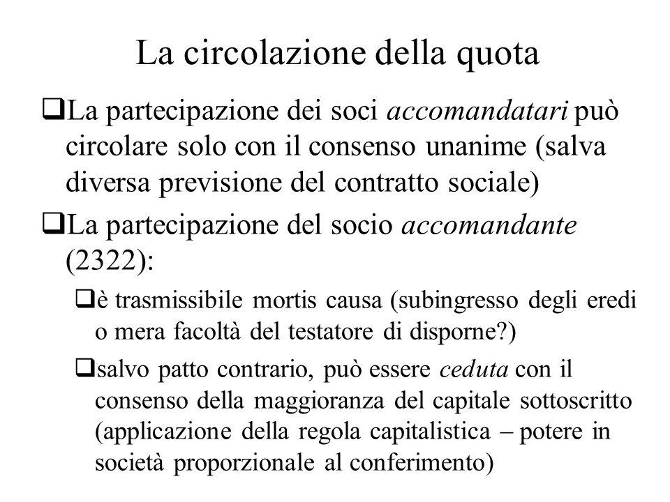 La circolazione della quota La partecipazione dei soci accomandatari può circolare solo con il consenso unanime (salva diversa previsione del contratt