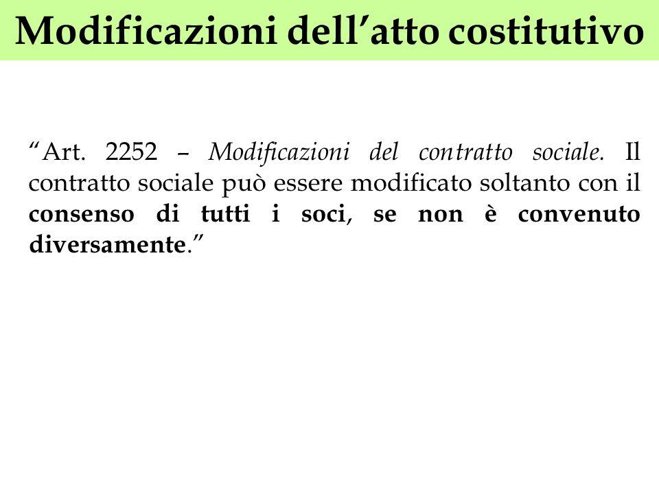 Modificazioni dellatto costitutivo Art. 2252 – Modificazioni del contratto sociale. Il contratto sociale può essere modificato soltanto con il consens