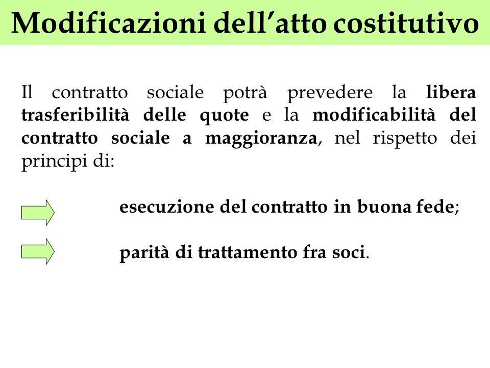 Modificazioni dellatto costitutivo Il contratto sociale potrà prevedere la libera trasferibilità delle quote e la modificabilità del contratto sociale