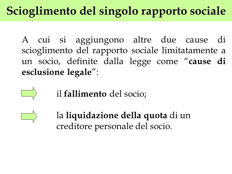 Scioglimento del singolo rapporto sociale A cui si aggiungono altre due cause di scioglimento del rapporto sociale limitatamente a un socio, definite