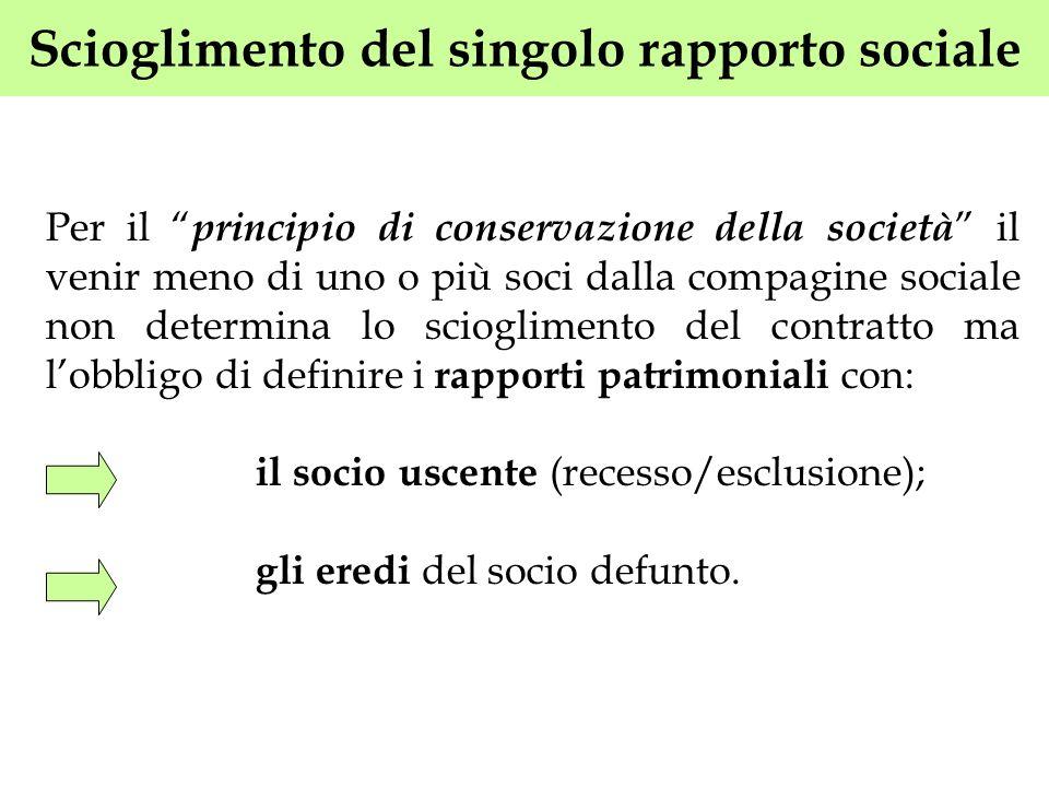 Scioglimento del singolo rapporto sociale Per il principio di conservazione della società il venir meno di uno o più soci dalla compagine sociale non