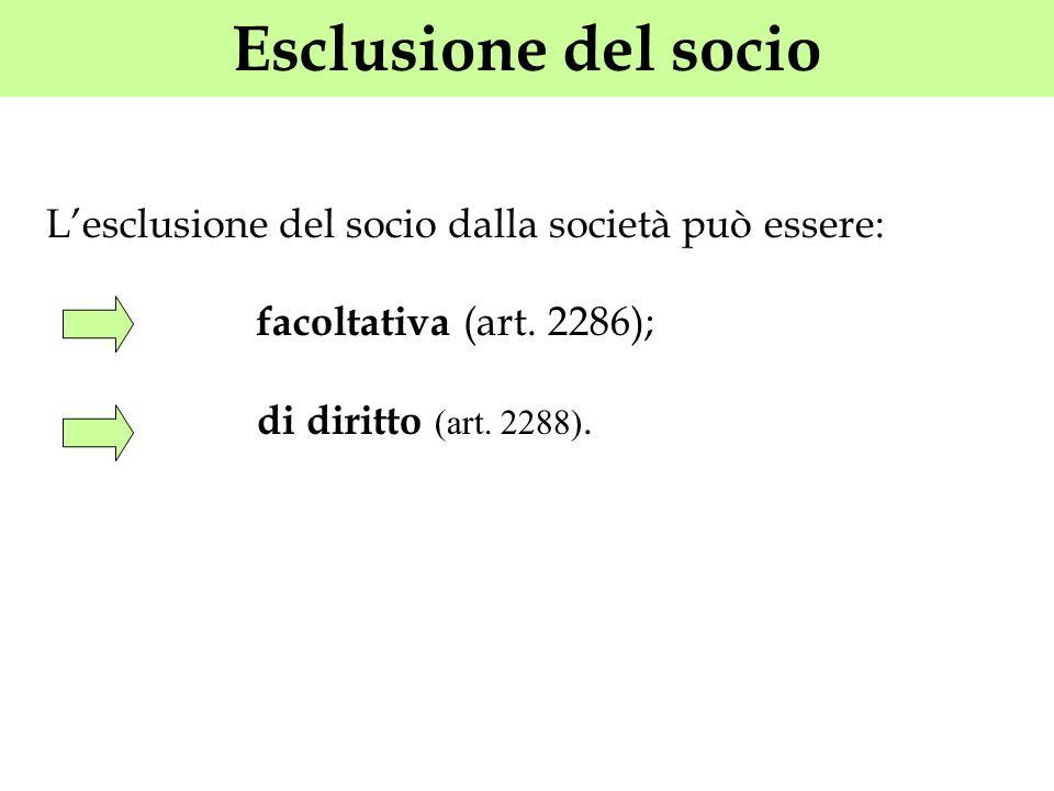 Esclusione del socio Lesclusione del socio dalla società può essere: facoltativa (art. 2286); di diritto (art. 2288).