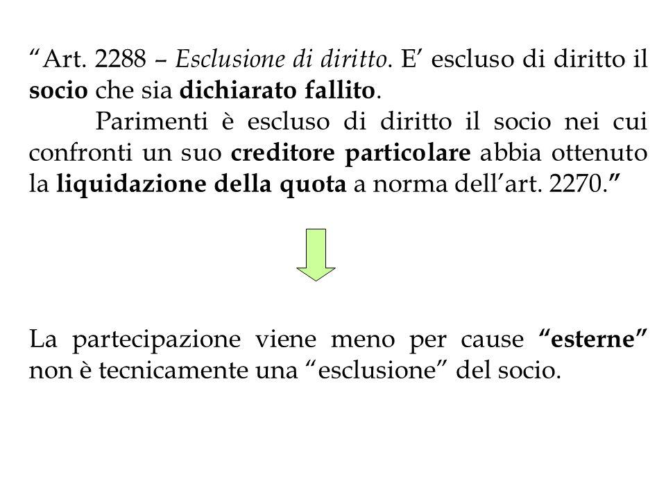 Art. 2288 – Esclusione di diritto. E escluso di diritto il socio che sia dichiarato fallito. Parimenti è escluso di diritto il socio nei cui confronti