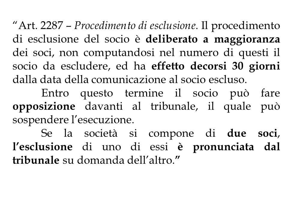Art. 2287 – Procedimento di esclusione. Il procedimento di esclusione del socio è deliberato a maggioranza dei soci, non computandosi nel numero di qu