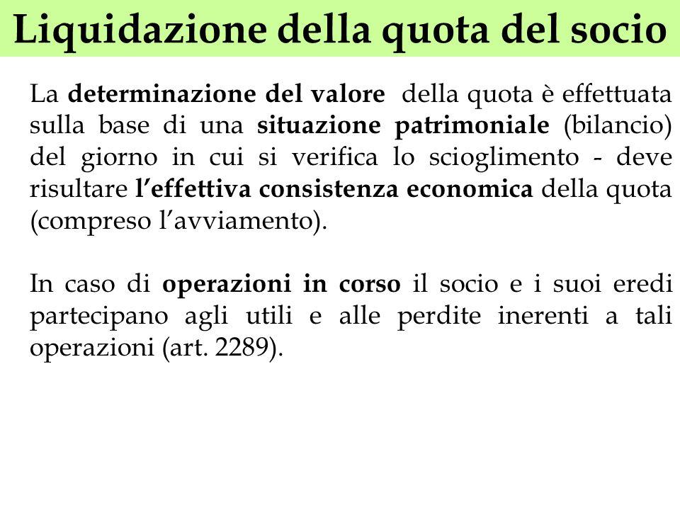 Liquidazione della quota del socio La determinazione del valore della quota è effettuata sulla base di una situazione patrimoniale (bilancio) del gior