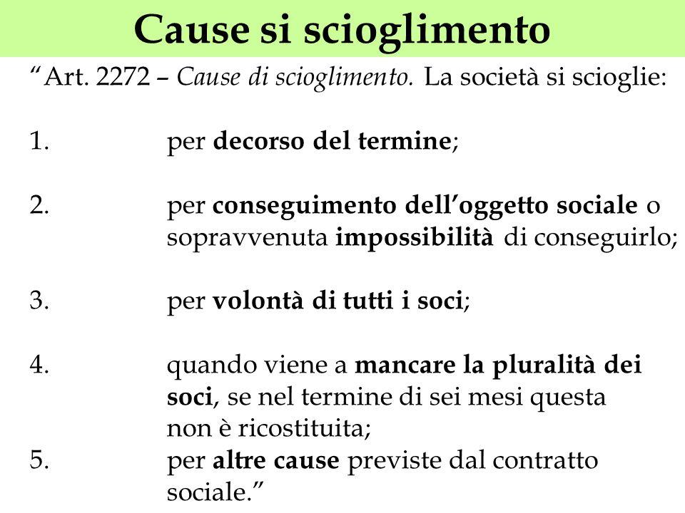 Cause si scioglimento Art. 2272 – Cause di scioglimento. La società si scioglie: 1. per decorso del termine ; 2. per conseguimento delloggetto sociale