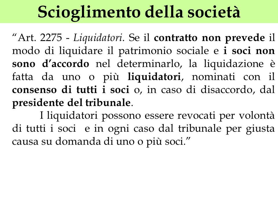 Scioglimento della società Art. 2275 - Liquidatori. Se il contratto non prevede il modo di liquidare il patrimonio sociale e i soci non sono daccordo
