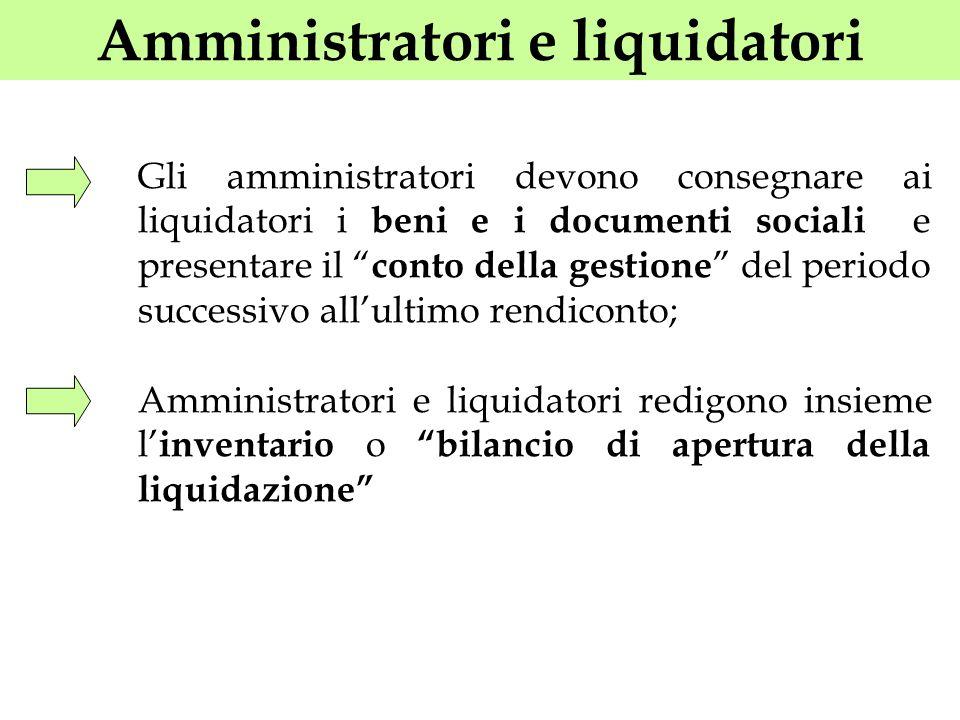 Amministratori e liquidatori Gli amministratori devono consegnare ai liquidatori i beni e i documenti sociali e presentare il conto della gestione del