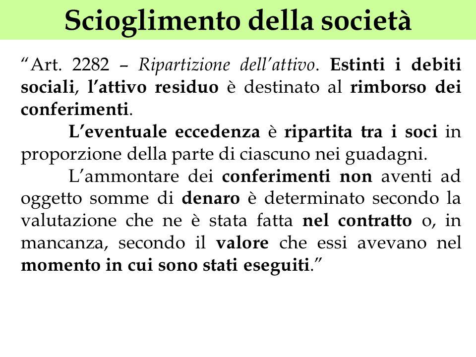 Scioglimento della società Art. 2282 – Ripartizione dellattivo. Estinti i debiti sociali, lattivo residuo è destinato al rimborso dei conferimenti. Le