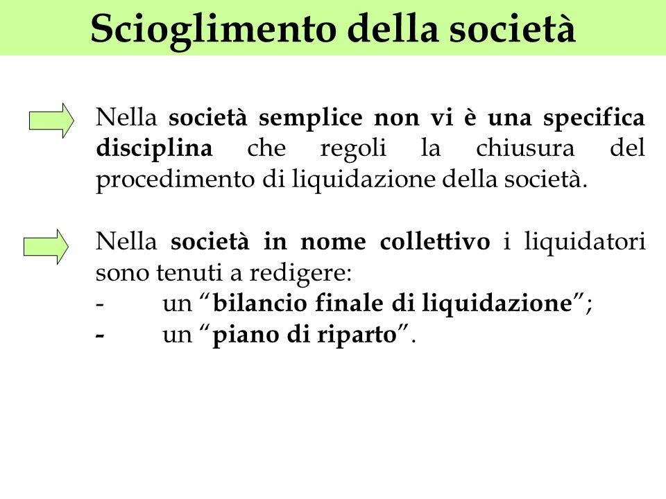 Scioglimento della società Nella società semplice non vi è una specifica disciplina che regoli la chiusura del procedimento di liquidazione della soci