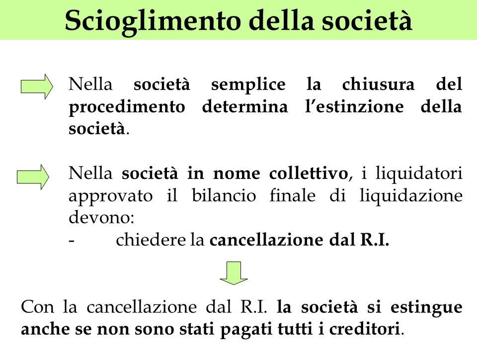 Scioglimento della società Nella società semplice la chiusura del procedimento determina lestinzione della società. Nella società in nome collettivo,