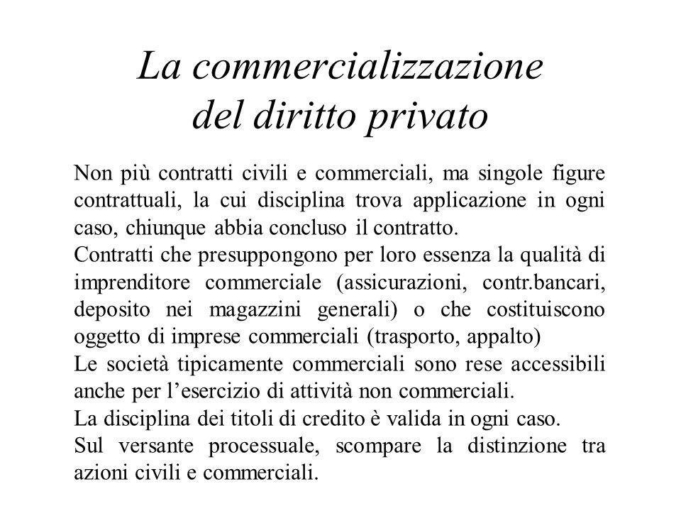 La commercializzazione del diritto privato Non più contratti civili e commerciali, ma singole figure contrattuali, la cui disciplina trova applicazion