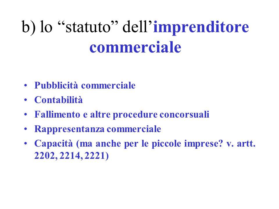b) lo statuto dellimprenditore commerciale Pubblicità commerciale Contabilità Fallimento e altre procedure concorsuali Rappresentanza commerciale Capa