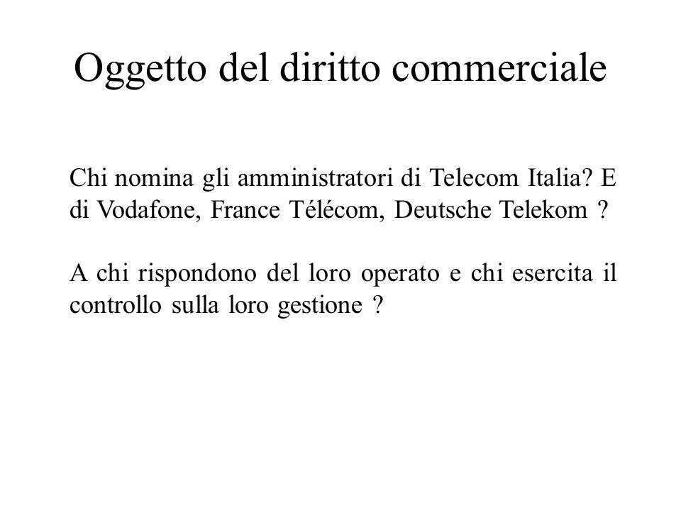 Oggetto del diritto commerciale Chi nomina gli amministratori di Telecom Italia? E di Vodafone, France Télécom, Deutsche Telekom ? A chi rispondono de