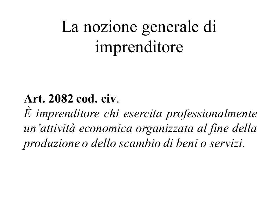 La nozione generale di imprenditore Art. 2082 cod. civ. È imprenditore chi esercita professionalmente unattività economica organizzata al fine della p