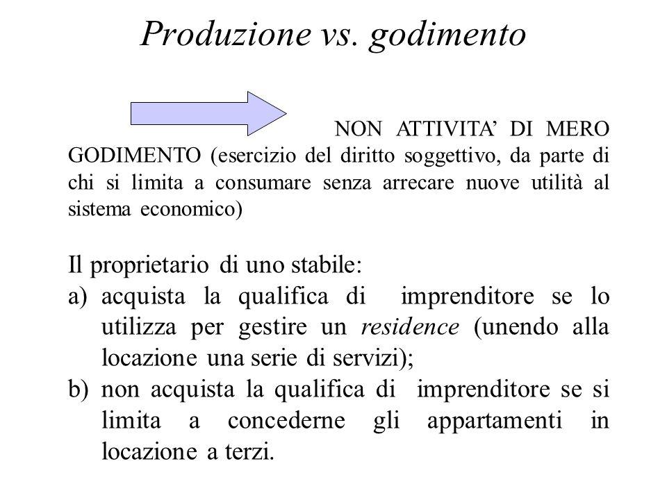 Produzione vs. godimento NON ATTIVITA DI MERO GODIMENTO (esercizio del diritto soggettivo, da parte di chi si limita a consumare senza arrecare nuove