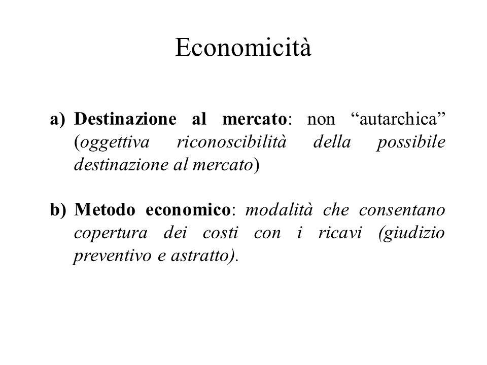 Economicità a)Destinazione al mercato: non autarchica (oggettiva riconoscibilità della possibile destinazione al mercato) b)Metodo economico: modalità