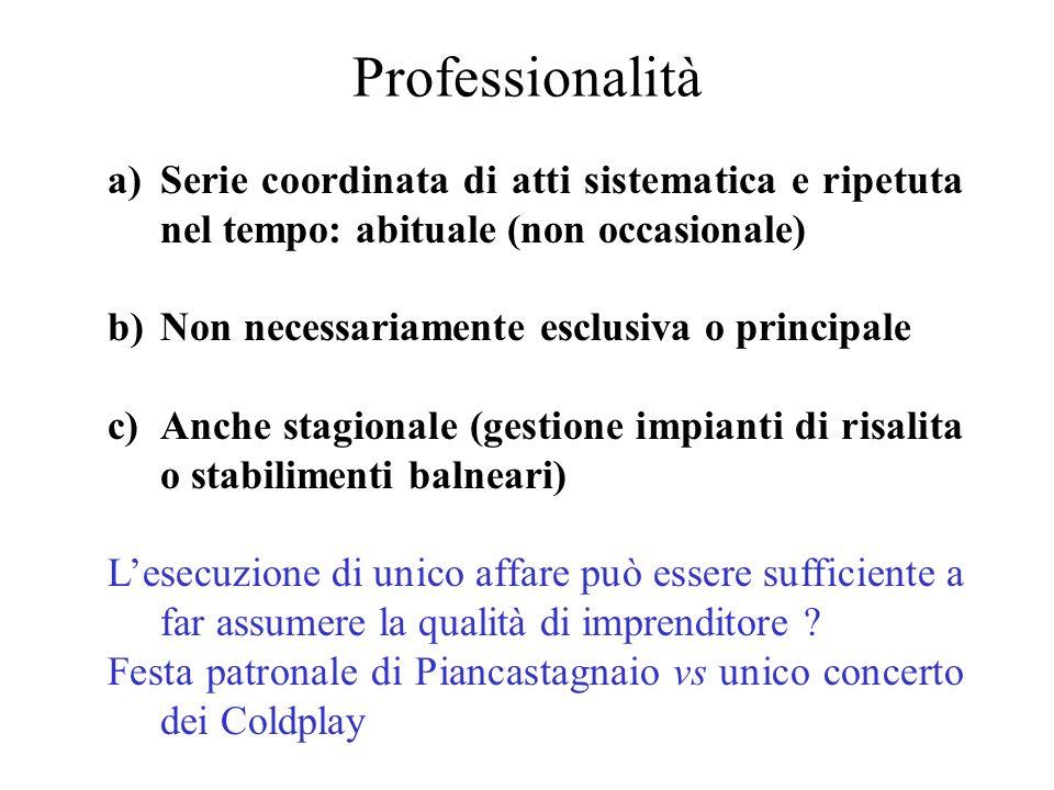 Professionalità a)Serie coordinata di atti sistematica e ripetuta nel tempo: abituale (non occasionale) b)Non necessariamente esclusiva o principale c