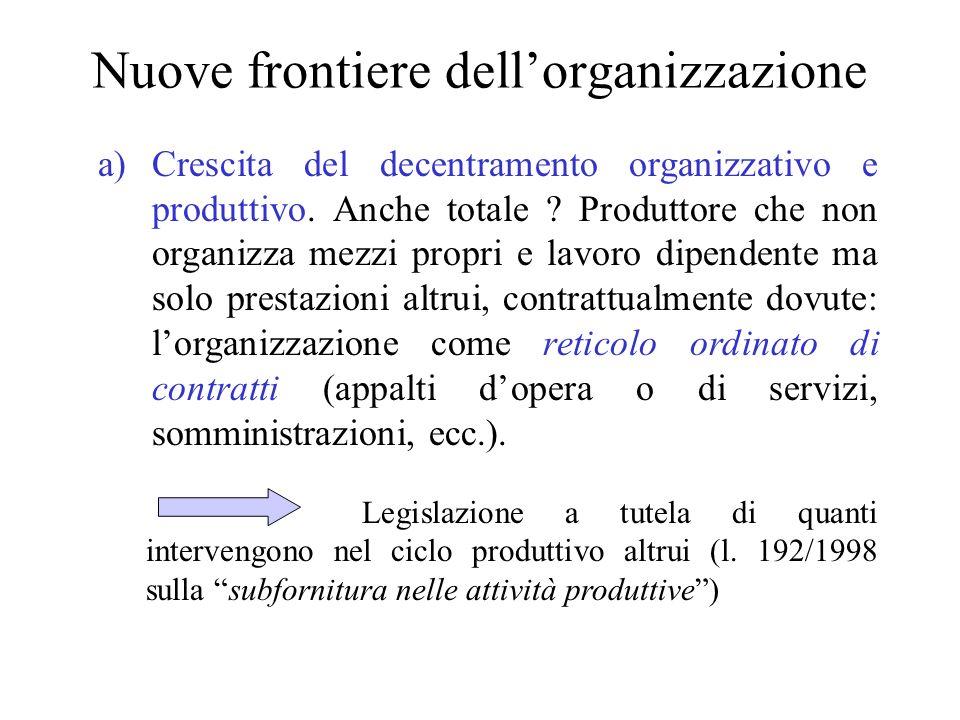 Nuove frontiere dellorganizzazione a)Crescita del decentramento organizzativo e produttivo. Anche totale ? Produttore che non organizza mezzi propri e