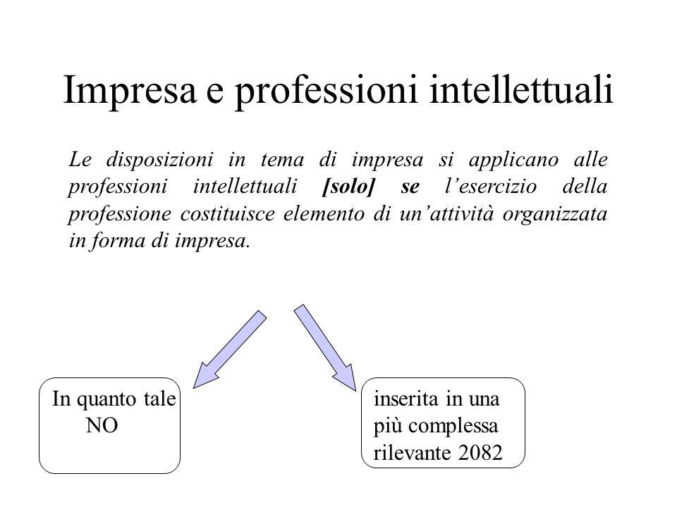 Impresa e professioni intellettuali Le disposizioni in tema di impresa si applicano alle professioni intellettuali [solo] se lesercizio della professi
