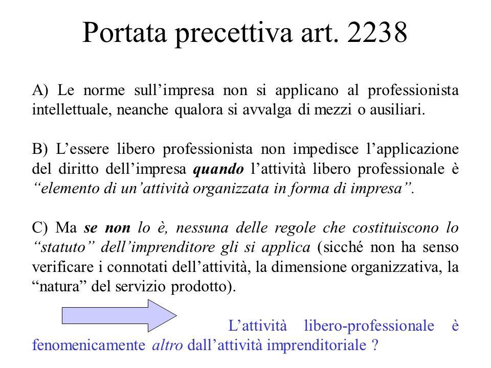 Portata precettiva art. 2238 A) Le norme sullimpresa non si applicano al professionista intellettuale, neanche qualora si avvalga di mezzi o ausiliari