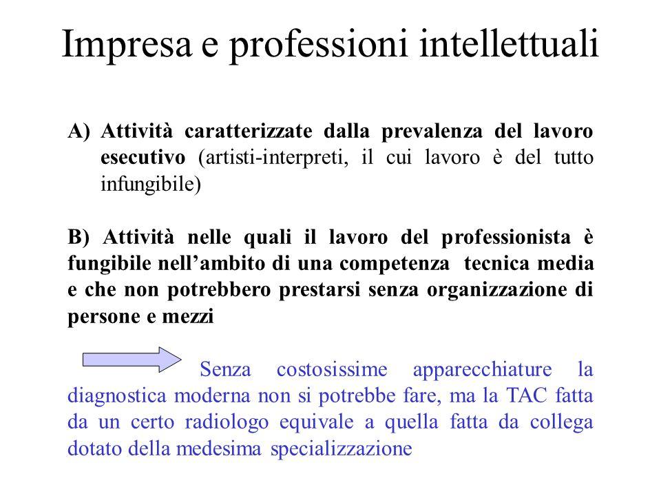 Impresa e professioni intellettuali A)Attività caratterizzate dalla prevalenza del lavoro esecutivo (artisti-interpreti, il cui lavoro è del tutto inf