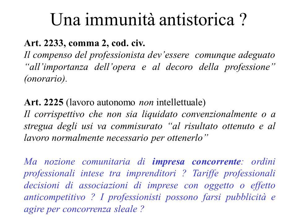 Una immunità antistorica ? Art. 2233, comma 2, cod. civ. Il compenso del professionista devessere comunque adeguato allimportanza dellopera e al decor