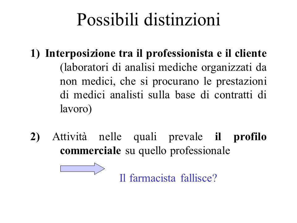 Possibili distinzioni 1)Interposizione tra il professionista e il cliente (laboratori di analisi mediche organizzati da non medici, che si procurano l