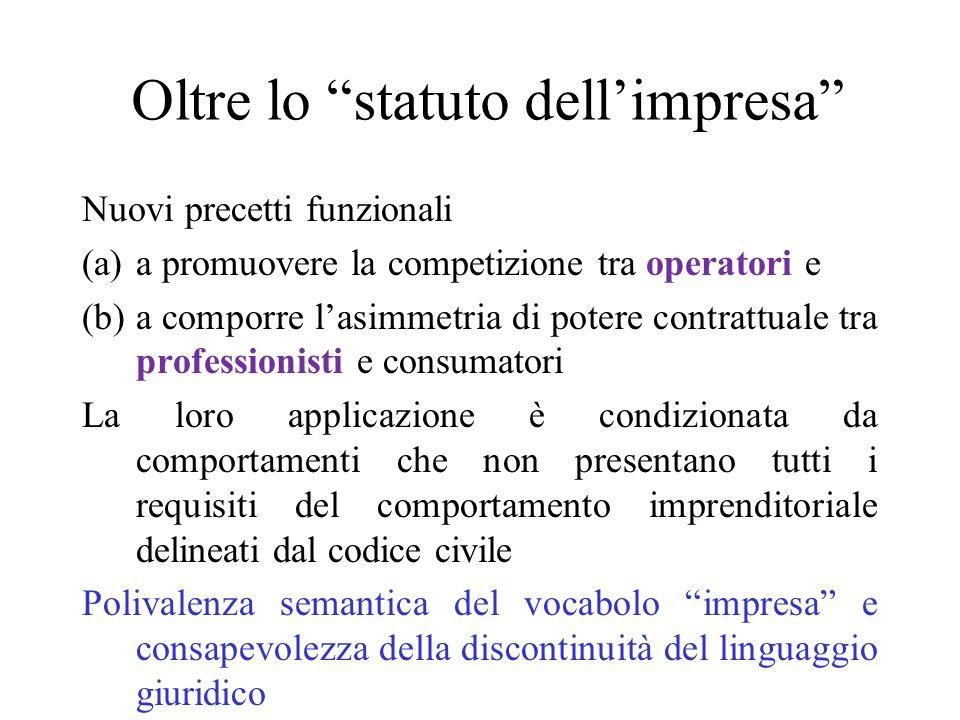 Oltre lo statuto dellimpresa Nuovi precetti funzionali (a)a promuovere la competizione tra operatori e (b)a comporre lasimmetria di potere contrattual