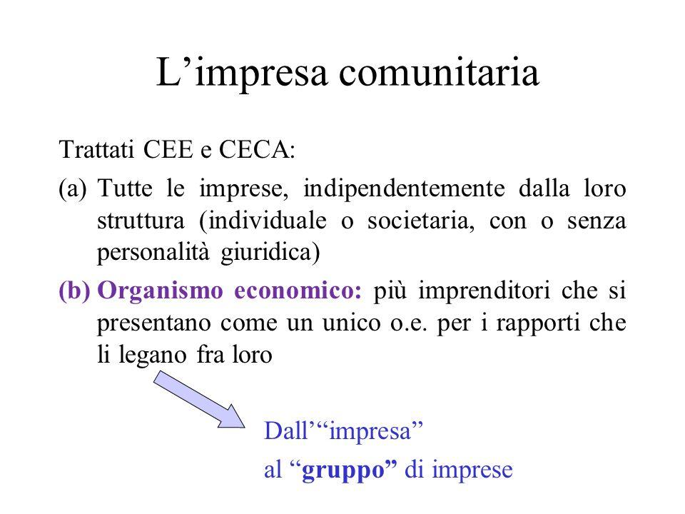 Limpresa comunitaria Trattati CEE e CECA: (a)Tutte le imprese, indipendentemente dalla loro struttura (individuale o societaria, con o senza personali