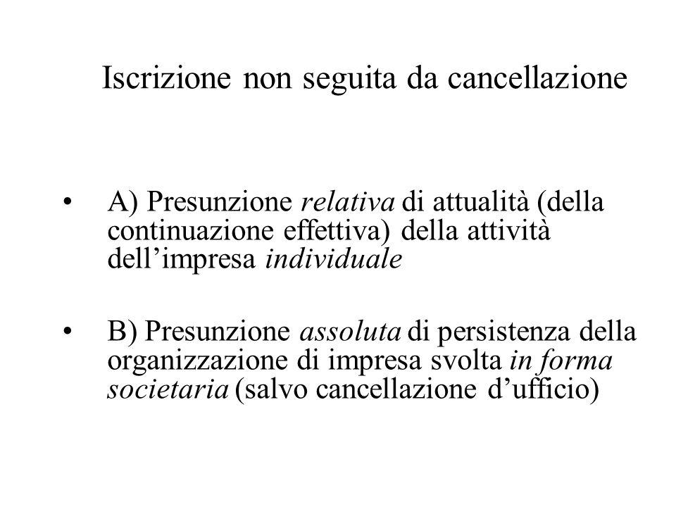 Iscrizione non seguita da cancellazione A) Presunzione relativa di attualità (della continuazione effettiva) della attività dellimpresa individuale B)