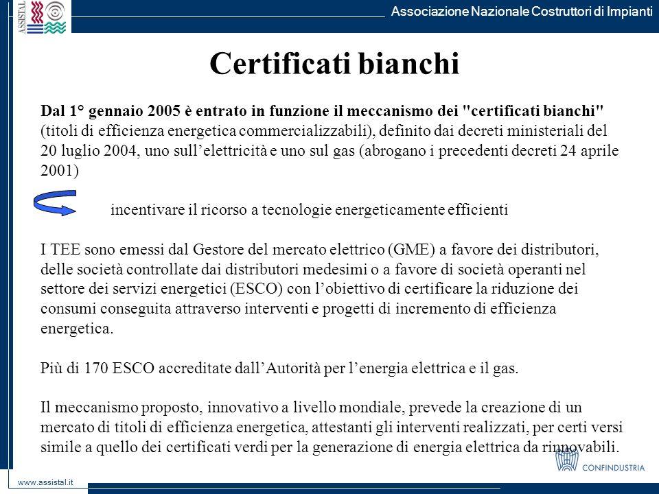 Associazione Nazionale Costruttori di Impianti www.assistal.it Certificati bianchi Dal 1° gennaio 2005 è entrato in funzione il meccanismo dei
