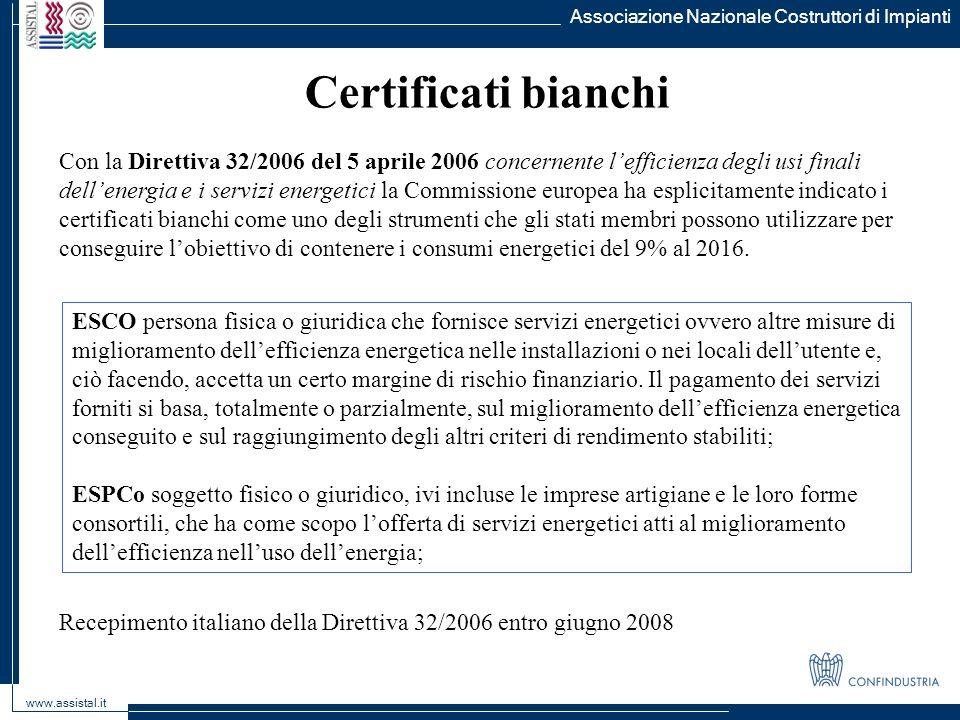 Associazione Nazionale Costruttori di Impianti www.assistal.it Certificati bianchi Con la Direttiva 32/2006 del 5 aprile 2006 concernente lefficienza
