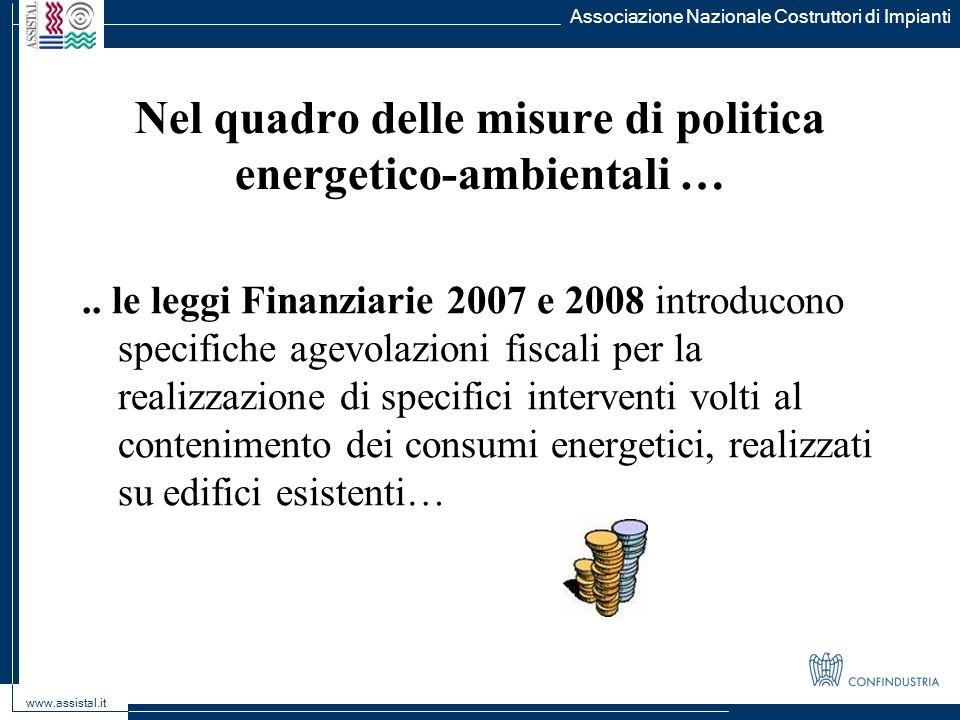 Associazione Nazionale Costruttori di Impianti www.assistal.it Nel quadro delle misure di politica energetico-ambientali ….. le leggi Finanziarie 2007