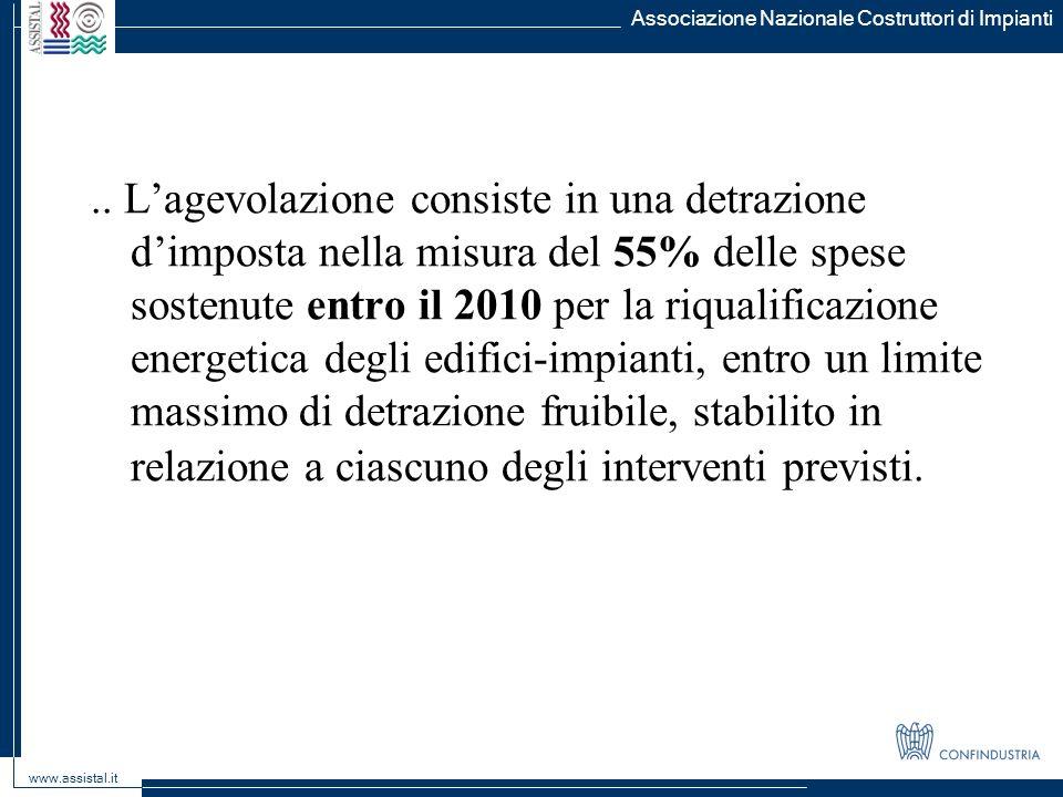 Associazione Nazionale Costruttori di Impianti www.assistal.it.. Lagevolazione consiste in una detrazione dimposta nella misura del 55% delle spese so