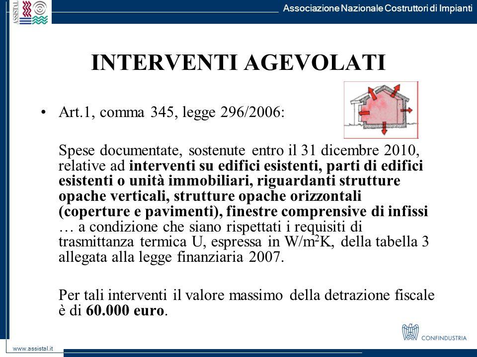 Associazione Nazionale Costruttori di Impianti www.assistal.it INTERVENTI AGEVOLATI Art.1, comma 345, legge 296/2006: Spese documentate, sostenute ent