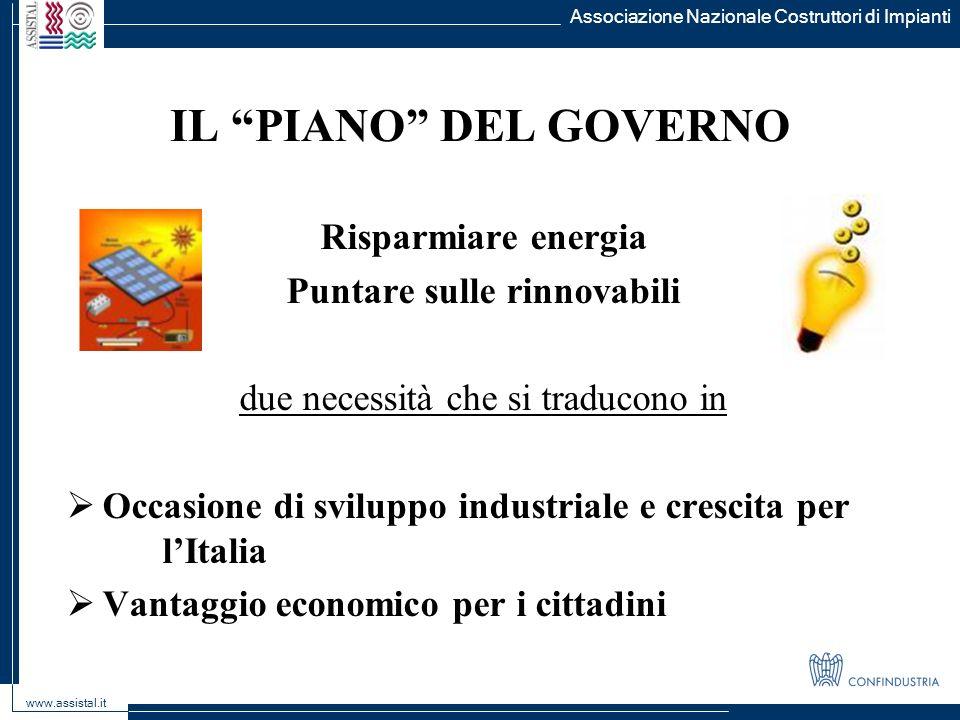 Associazione Nazionale Costruttori di Impianti www.assistal.it IL PIANO DEL GOVERNO Risparmiare energia Puntare sulle rinnovabili due necessità che si