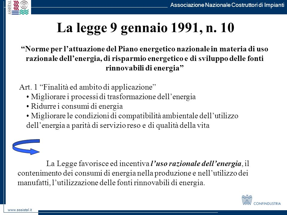 Associazione Nazionale Costruttori di Impianti www.assistal.it La legge 9 gennaio 1991, n. 10 Norme per lattuazione del Piano energetico nazionale in
