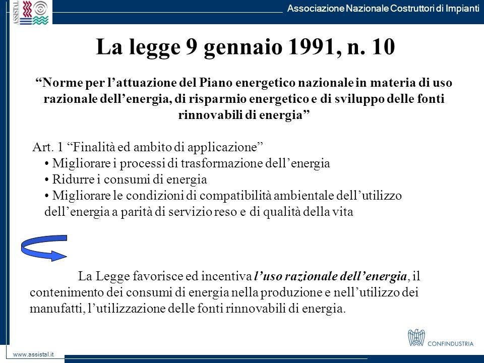 Associazione Nazionale Costruttori di Impianti www.assistal.it La legge 9 gennaio 1991, n.