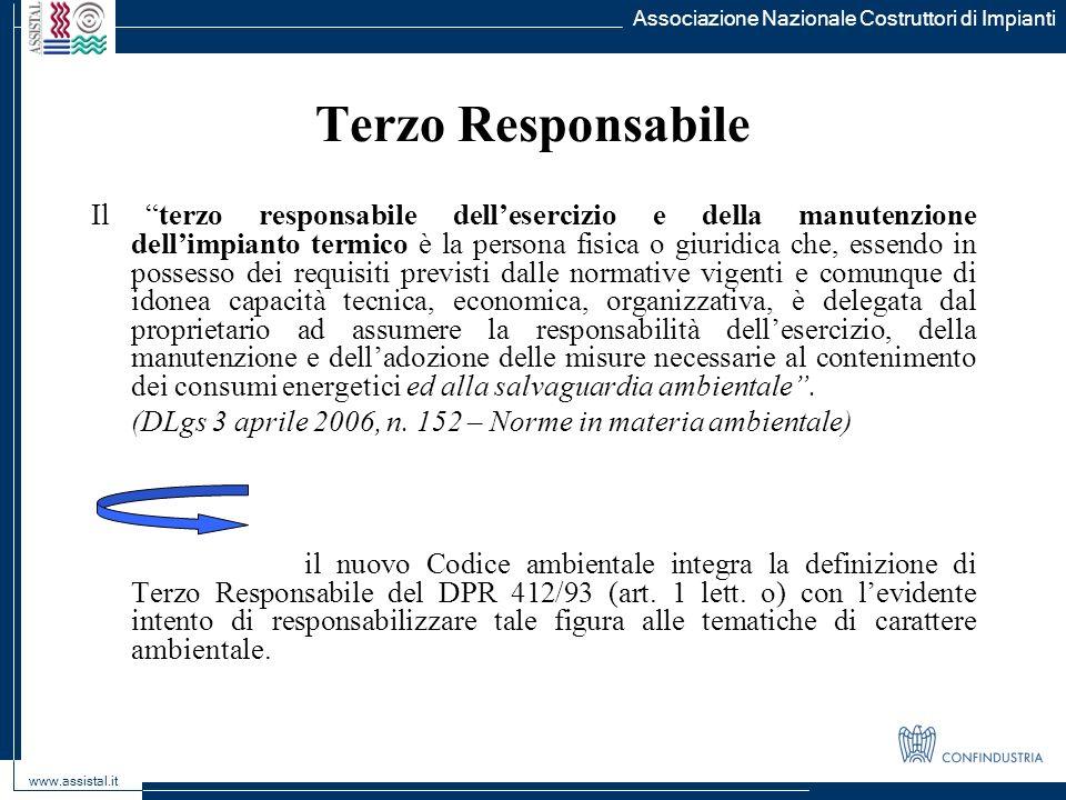 Associazione Nazionale Costruttori di Impianti www.assistal.it Terzo Responsabile Il terzo responsabile dellesercizio e della manutenzione dellimpiant